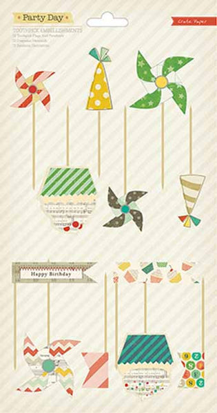 Crate Paper - Party Day - Toothpick Flags and Pinwheels