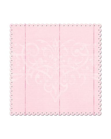 Creative Imaginations - Pink Line Scalloped Edge Paper