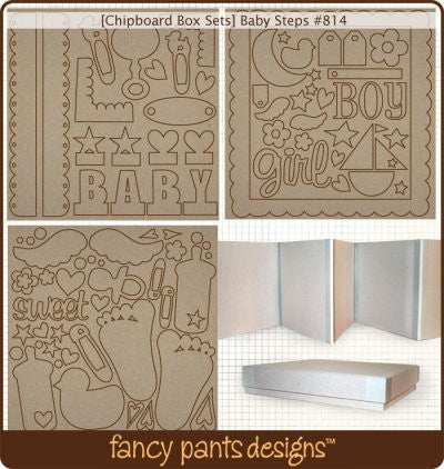 Fancy Pants - 8x8 Baby Steps Chipboard Box Set