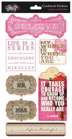 Glitz - pretty in pink - titles cardstock stickers