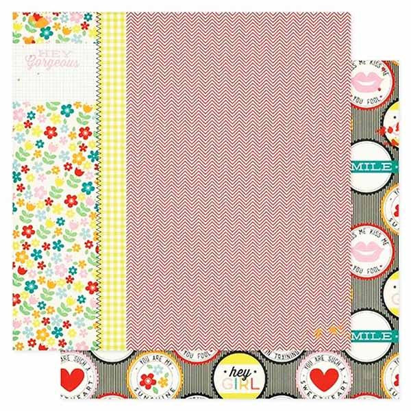 Pink Paislee Paper Collection - Hey Kid - Double Dutch Paper