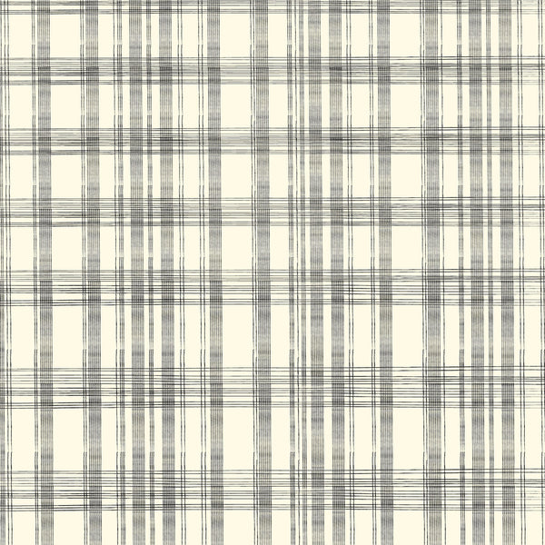 Canvas Corp Papers - Heirloom Collection -  Ivory and Black Plaid Cardstock
