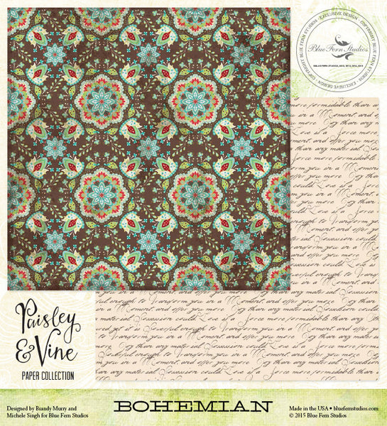 Blue Fern Studios Paper Collection - Paisley & Vine - Bohemian