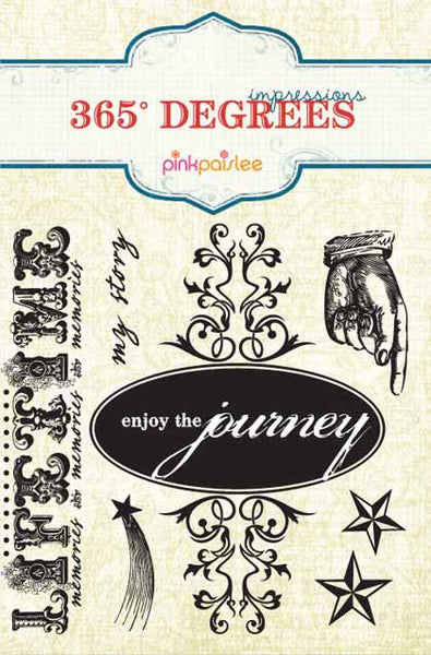 Pink Paislee Paper Collection - 365 Degrees - 365 Degrees Impressions Stamps