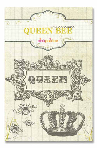 Pink Paislee Paper Collection - Queen Bee - Impressions Stamps