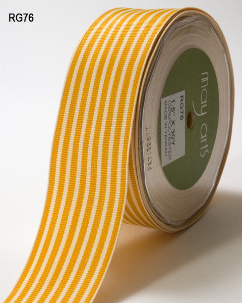 May Arts - 1.5 Inch Grosgrain Butterscotch/Ivory Striped Ribbon