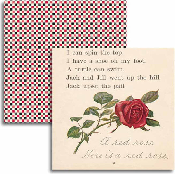 Jenni Bowlin Paper Collection - Red/Black IV - A Red Rose Paper