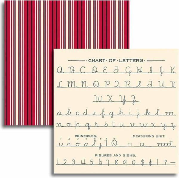 Jenni Bowlin Paper Collection - Red/Black IV - Letter Chart Paper