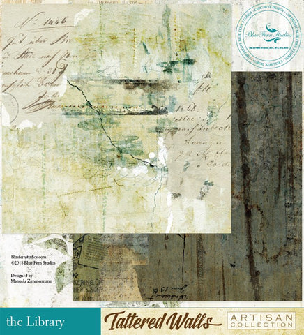 Blue Fern Studio Paper - Tattered Walls - The Library