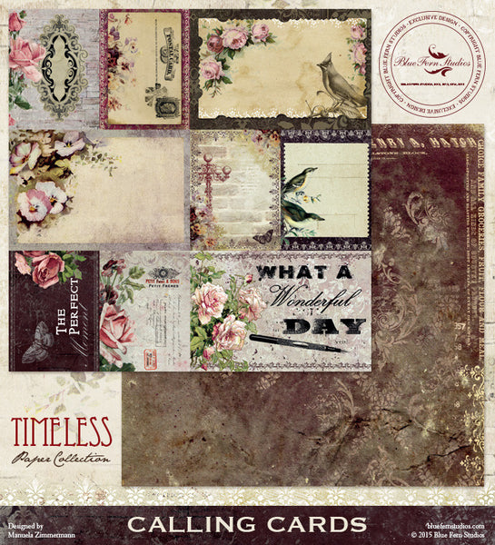 Blue Fern Studios Paper Collection - Timeless -   Calling Cards