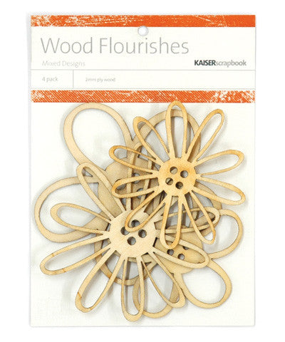 Kaiser Craft Paper Collection - Wood - Flourishes Button Blooms