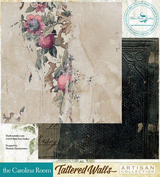 Blue Fern Studio Paper - Tattered Walls - Carolina Room
