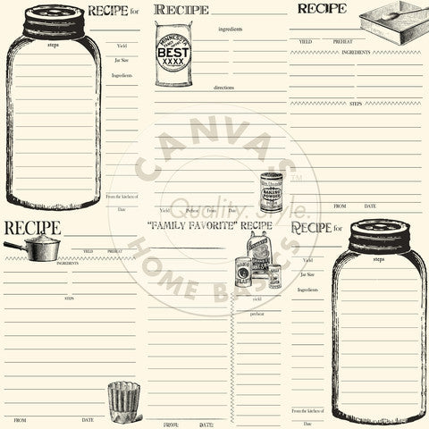 Canvas Corp Papers - Farmhouse Kitchen -Bake And Can Recipe Cards On Ivory