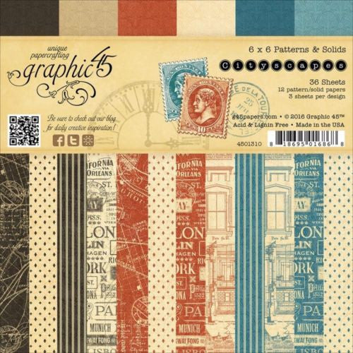 Graphic45  CityScape 6x6 Pattern and Solids