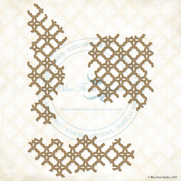 Blue Fern Studios Laser  Cut Chipboard - Floral Lattice Bits