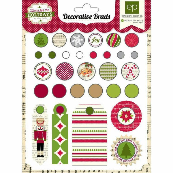 Carta Bella - decorative brads - Home for the holidays
