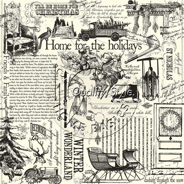 Canvas Corp Papers - Farmhouse Christmas on Ivory