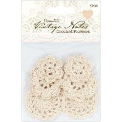 Papermania Vintage Notes Crochet Flowers 6/Pk