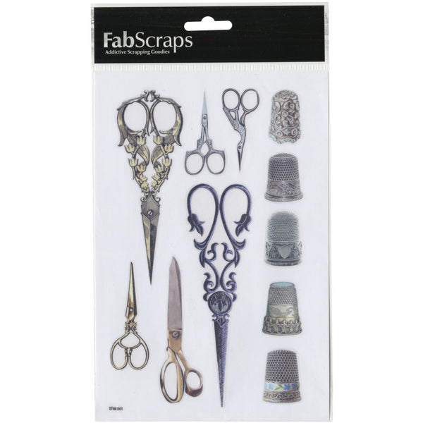 Fab Scraps Oh! Sew Beautiful Clear Scissors Stickers