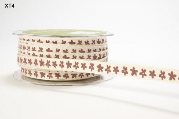 May Arts - Ivory w/ Brown Flowers Twill ribbon