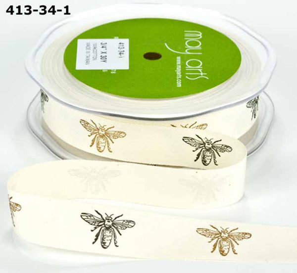 May Arts - Black and Gold Bee Print Ribbon