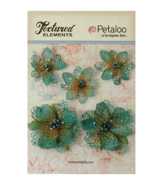 Petaloo Jeweled flowers - Teal