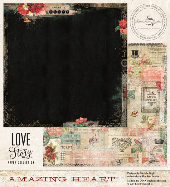 Blue Fern Studios Paper Collection - Love Story - Amazing Heart