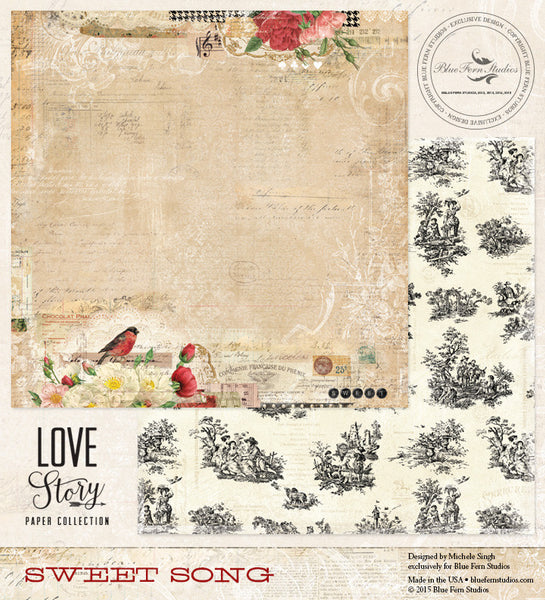 Blue Fern Studios Paper Collection - Love Story - Sweet Song