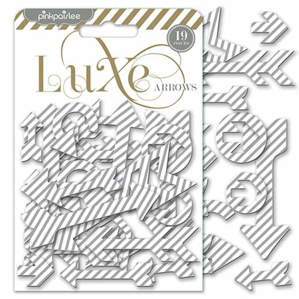 Pink Paislee Paper Collection - Luxe - Silver Chipboard Arrows