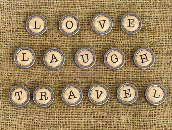 Prima Embellishment  - Love, Travel & Laugh Brads