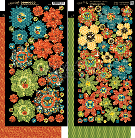 Graphic45  Nature Sketchbook flowers Die Cut Embellishments