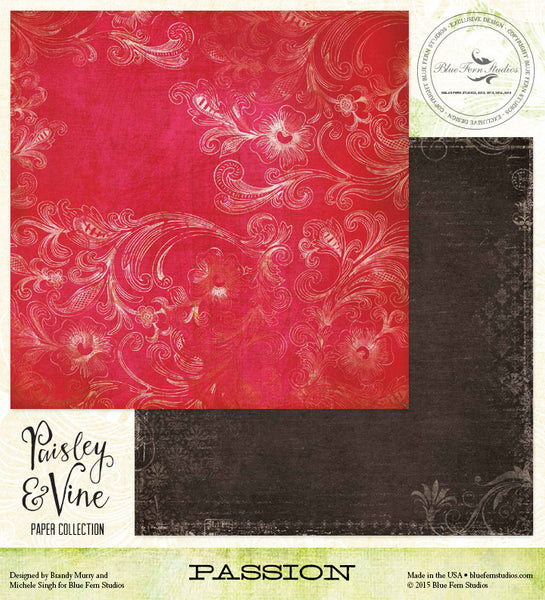 Blue Fern Studios Paper Collection - Paisley & Vine - Passion