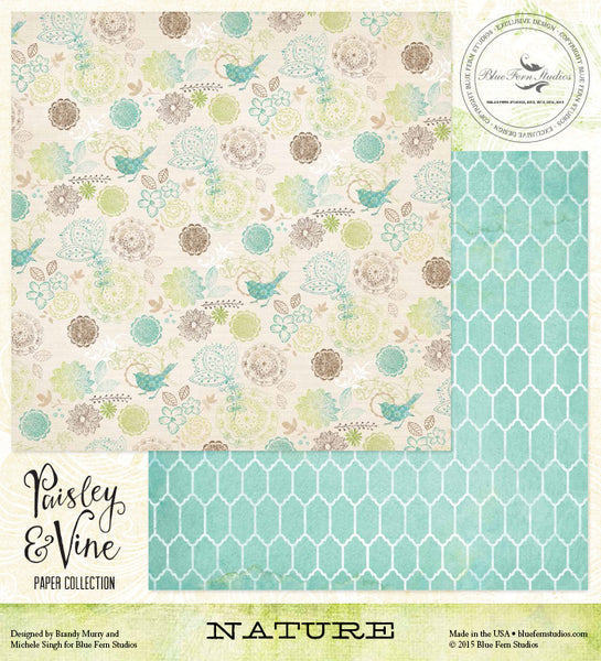 Blue Fern Studios Paper Collection - Paisley & Vine - Nature