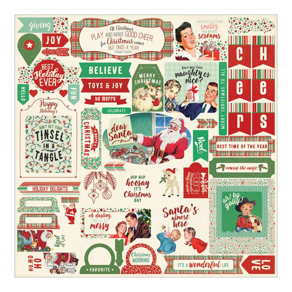 Authentique - Retro Christmas Stickers