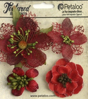 Petaloo Textured elements Mixed Blossoms Red