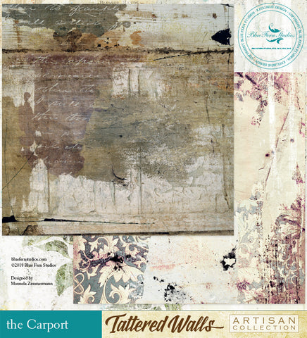 Blue Fern Studio Paper - Tattered Walls - Carport