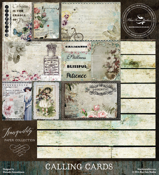 Blue Fern Studios Paper Collection - Tranquility-  Calling cards