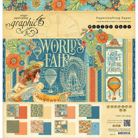 Graphic45  Worlds Fair Paper Pad 12X12