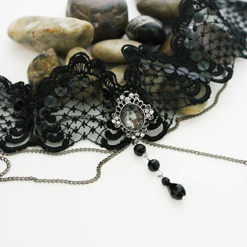 Black Sequin Victorian Gothic Lace Choker Necklace
