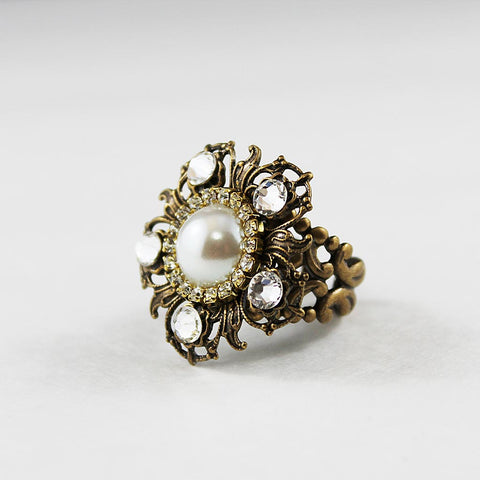 Pearl Crystal Statement Cocktail Ring