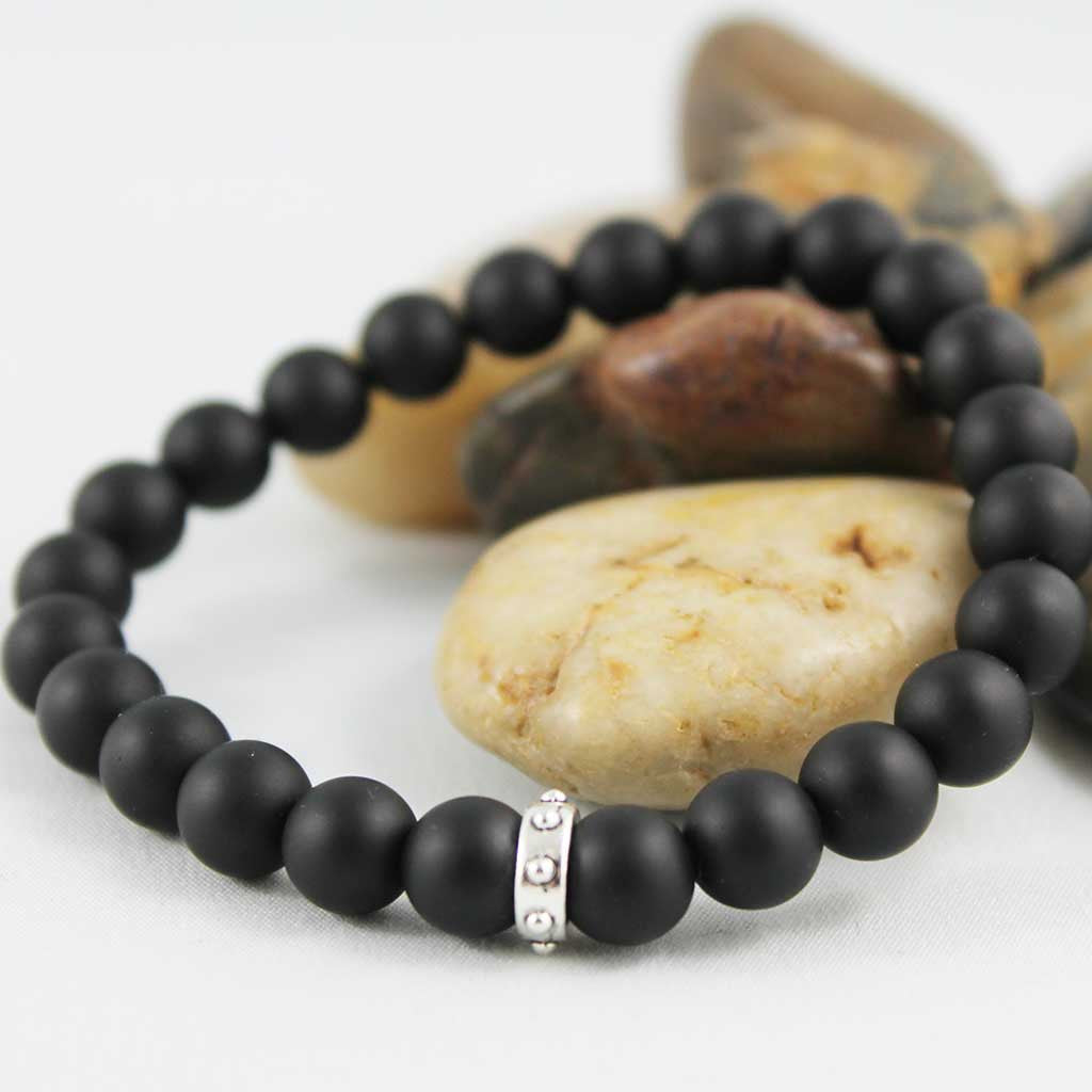 Beaded Unisex Black Matte Onyx Stretch Bracelet