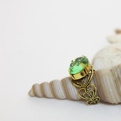 Gold Filigree Green Crystal Ring