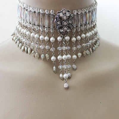 Beaded Bridal Choker Necklace