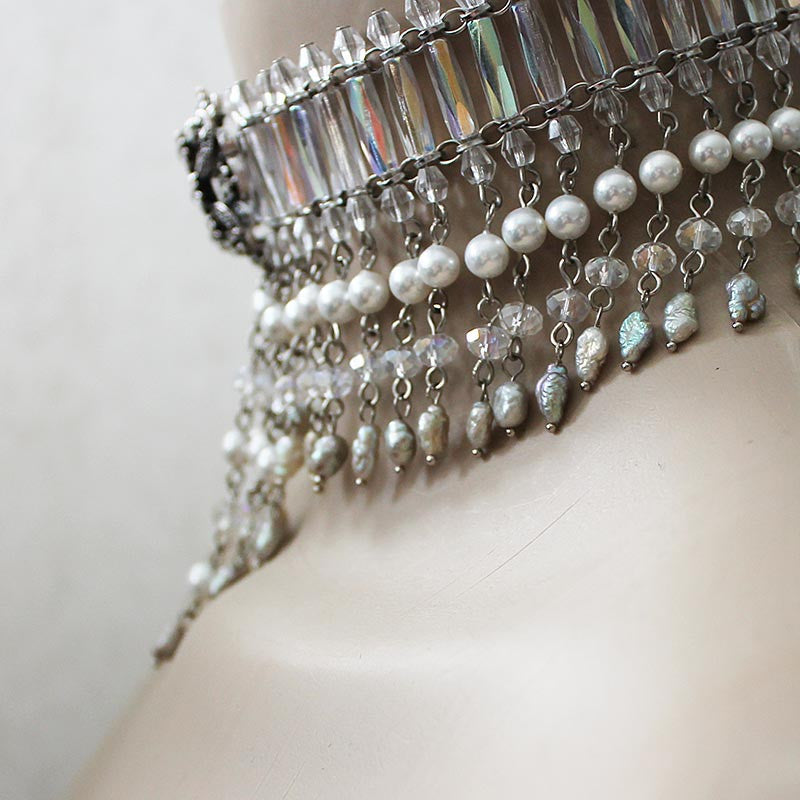Beaded Victorian Bridal Choker Necklace