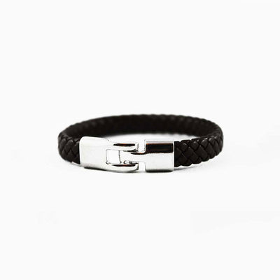 Black Braided Leather Bracelet with Silver Hook Clasp