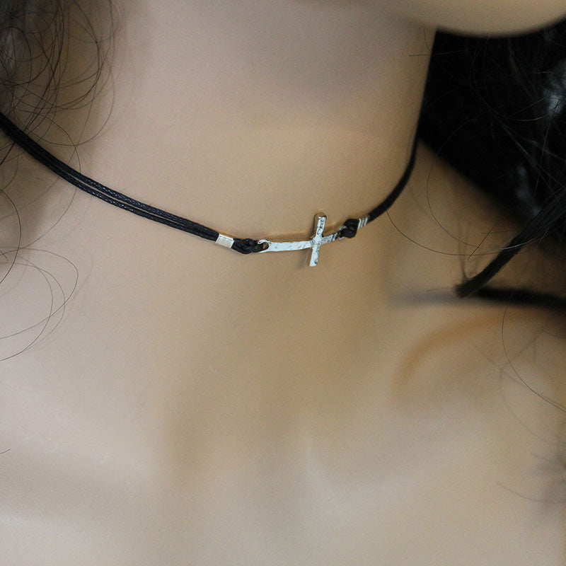 Silver Sideways Cross Choker