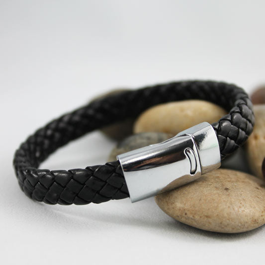 Black Braided Leather Bracelet, Unisex Couple's Bracelet