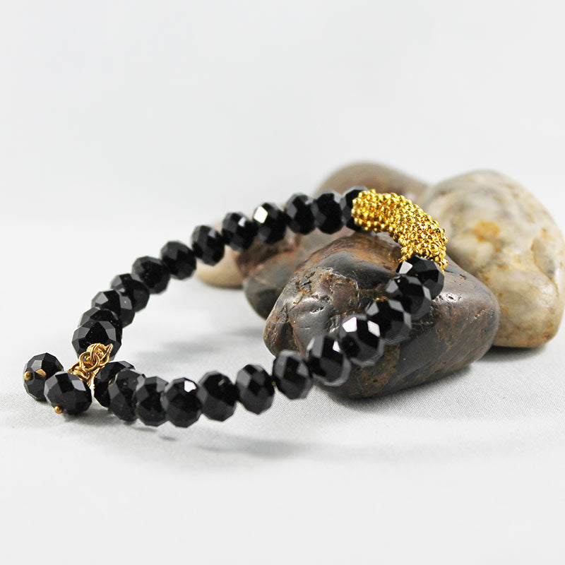 Black Crystal Bead Bangle Bracelet