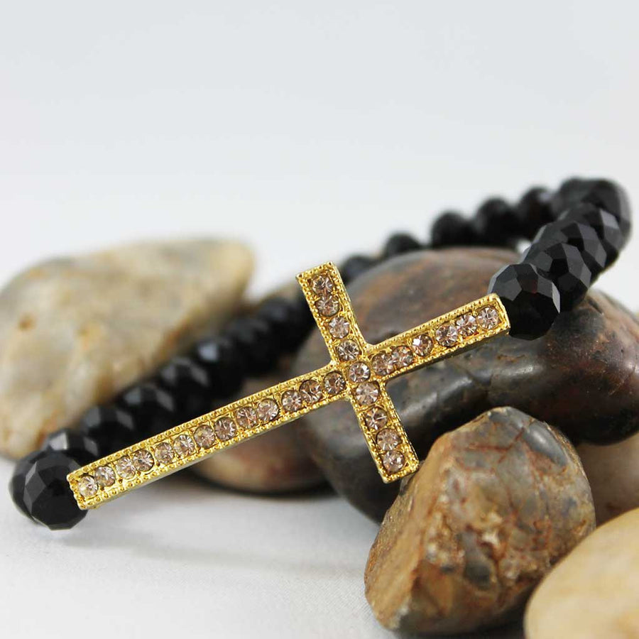 Black Crystal Bead Gold Sideways Cross Bracelet