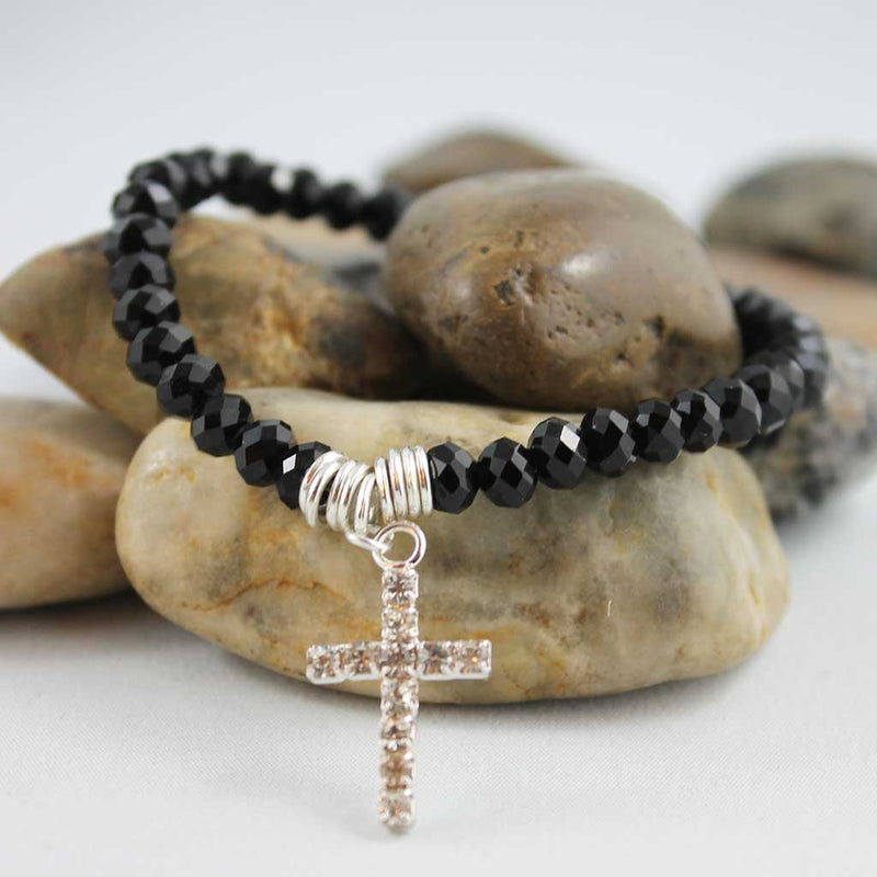 Black Beaded Stacking Cross Bracelet